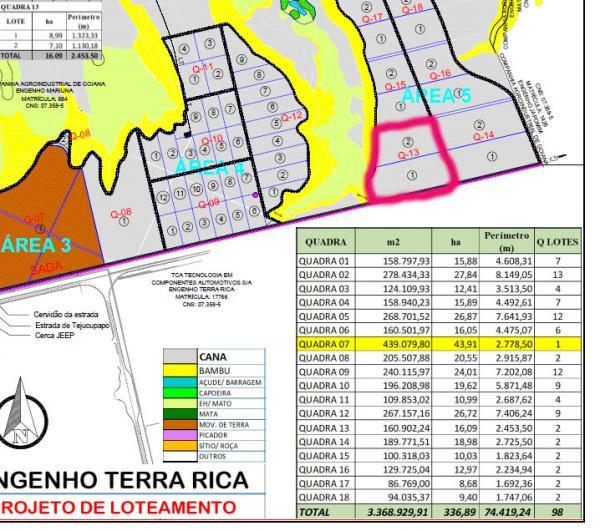 QUADRA 13 engenho Terra Rica 16,09 ha